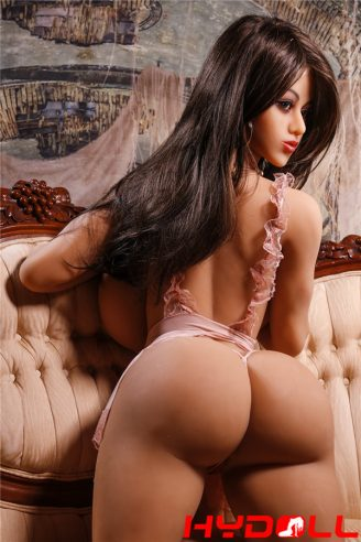 Black long hair big breasted sex doll